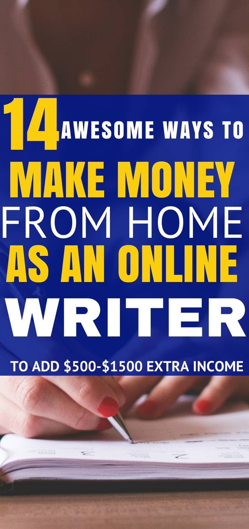 These 14 places to make money from home as on online writer are seriously the best! I'm so happy I found these great tips and tricks! Now I can make some great extra money from the comfort of home! Definitely pinning!